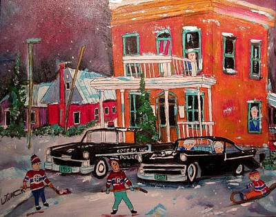 Painting - Cote St. Luc Police At 8100 1958 by Michael Litvack