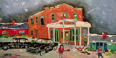 Painting - Cote St. Luc Police Traffic Control 1955 by Michael Litvack