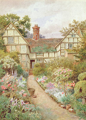 Chimneys. Flowers Painting - Cottage Garden by Thomas Nicholson Tyndale