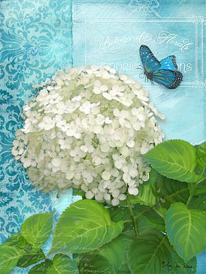 Etching Mixed Media - Cottage Garden White Hydrangea With Blue Butterfly by Audrey Jeanne Roberts