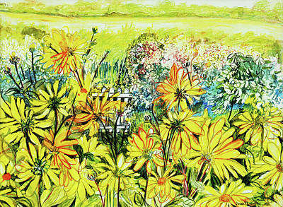 Daisy Drawing - Cottage Gate Seen Through Sun Daisies by Joan Thewsey