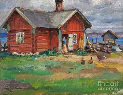 Red Painting - Cottage by Santeri Salokivi
