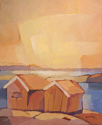 Handpainted Painting - Cottages Seascape by Lutz Baar