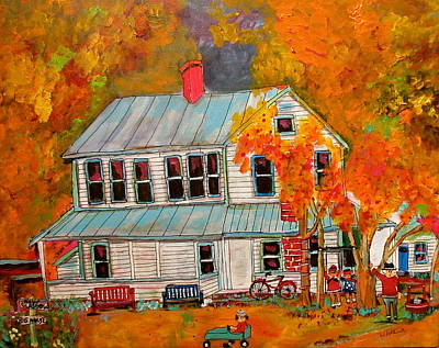 Litvack Naive Painting - Kottenberg's Hotel New Glasgow Fall by Michael Litvack