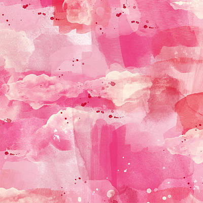 Pink Painting - Cotton Candy Clouds- Abstract Watercolor by Linda Woods