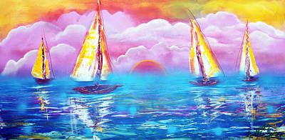Fantasy Painting - Cotton Candy Cove by Laura Barbosa