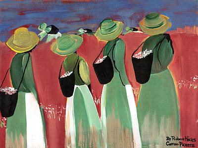 Cotton Pickers Print by Robert Lee Hicks