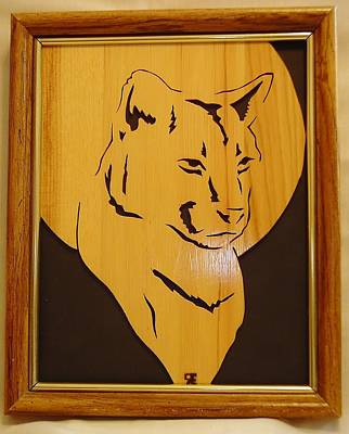 Scroll Saw Sculpture - Cougar And Moon by Russell Ellingsworth