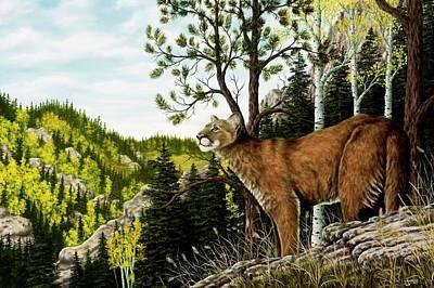 Wildlife Landscape Painting - Cougar Country by Rick Bainbridge