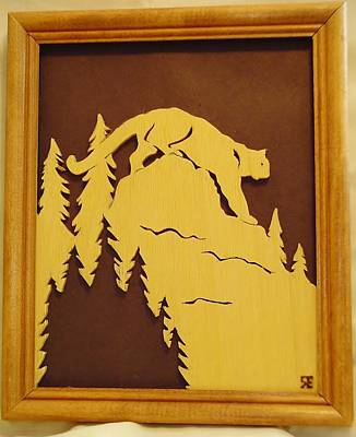 Scroll Saw Sculpture - Cougar On Prowl by Russell Ellingsworth