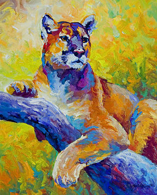 Mountains Painting - Cougar Portrait I by Marion Rose