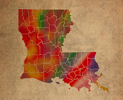 Louisiana Mixed Media - Parishes Of Louisiana Colorful Vibrant Watercolor State Map On Old Canvas by Design Turnpike