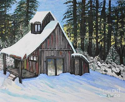 Winter Scene Painting - Country Cabin by Reb Frost