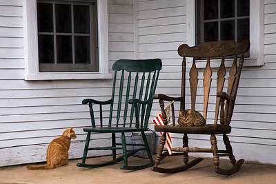 Rocking Chairs Photograph - Country Cats by Robin-lee Vieira