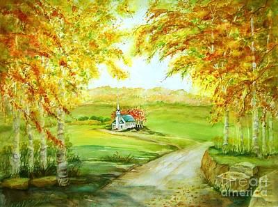 Maryann Painting - Country Church by Maryann Schigur