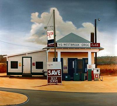 Gas Station Painting - Country Crossroads by Doug Strickland