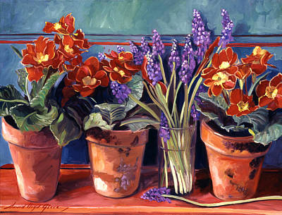 Country Style Painting - Country Inn Flowerpots by David Lloyd Glover