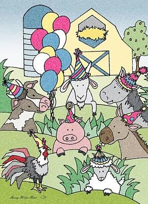 Donkey Mixed Media - Country Life Birthday by Sherry Holder Hunt