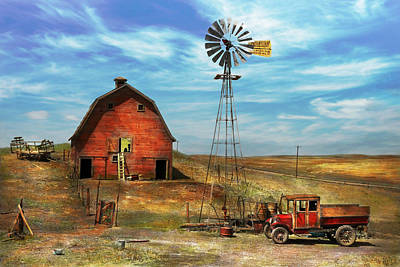 Architecture Photograph - Country - Nd - Dirt Farming 1936 by Mike Savad