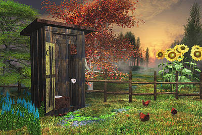 Country Outhouse Print by Mary Almond