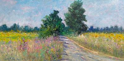 Country Path With Sunflowers Original by Biagio Chiesi