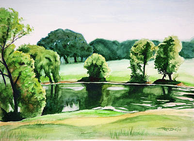 Watercolor Painting - Country Pond by Christopher Reid