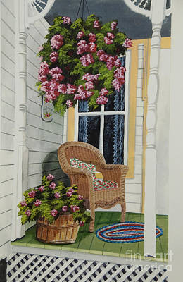 Wicker Chair Painting - Country Porch by Charlotte Blanchard