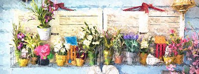 Southern Indiana Painting - Country Porch Flowers by Gary Guthrie