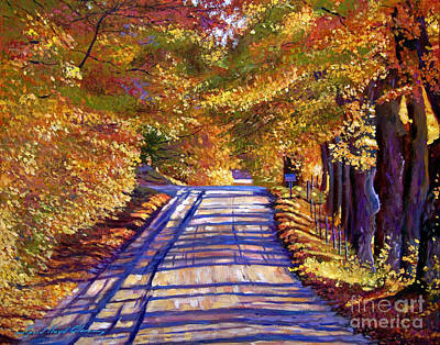 Fallen Leaves Painting - Country Road by David Lloyd Glover