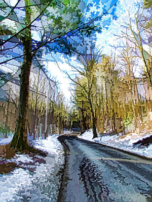 Country Road With Pine Trees 5 Print by Lanjee Chee