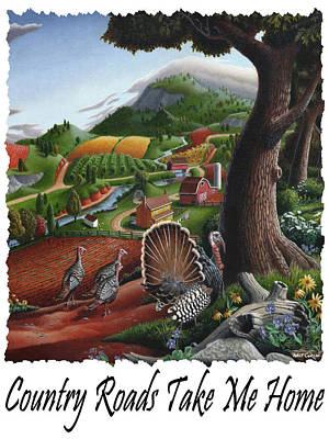 Wild Turkey Painting - Country Roads Take Me Home - Turkeys In The Hills Country Landscape 2 by Walt Curlee