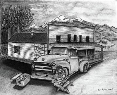 1956 Ford Truck Drawing - Country Store by Bruce Workman