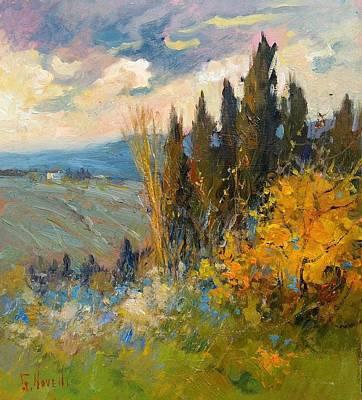 Tuscan Sunset Painting - Country Sunset Tuscany by Giampiero Novelli