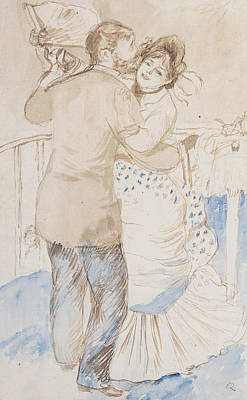 Charming Drawing - Countryside Dance by Pierre Auguste Renoir
