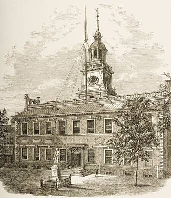 Philadelphia History Drawing - County Court House Or Independence by Vintage Design Pics