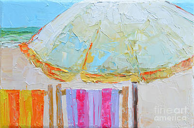 Beach Chairs Under White Umbrella - Modern Impressionist Knife Palette Oil Painting Original by Patricia Awapara