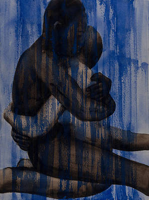 Embrace Painting - Couple   Blue by Graham Dean
