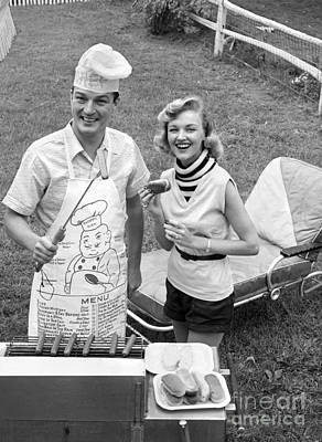 Couple Cooking Out, C.1950s Print by Debrocke/ClassicStock