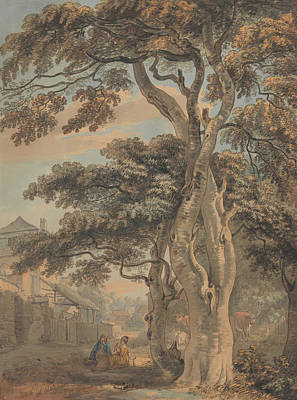 18th Century Painting - Couple In A Farmyard by Paul Sandby