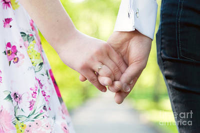 Anniversary Ring Photograph - Couple In Love Holding Hands by Michal Bednarek