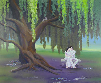 Near Death Experience Painting - Couple In The Shade Of A Willow Tree2 by Dominic Sanson