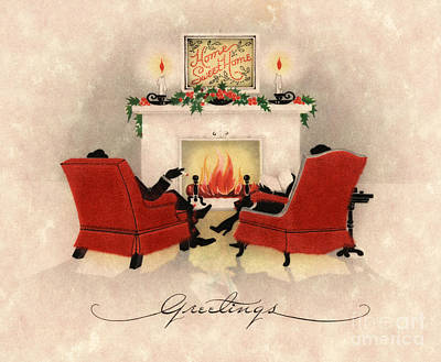 Couple Sitting Before Roaring Fireplace On Christmas Eve Print by American School