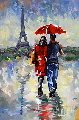 Rain Painting - couple walking in the rain Paris by Tim Gilliland
