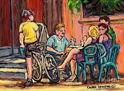 Couples Lunch At Lakeshore Paris Style Sidewalk Terrace Bistro Painting Quebec Art Carole Spandau Original by Carole Spandau