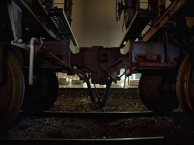 Train Tracks Photograph - Coupling by Scott Hovind