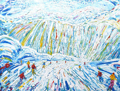 Snowboarding Painting - Courchevel Creux Piste by Pete Caswell