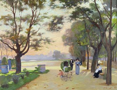 Pram Painting - Cours La Reine Paris by Jules Ernest Renoux