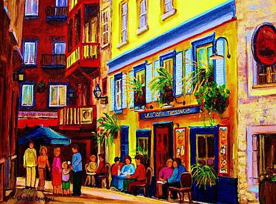 Quebec Cities Painting - Courtyard Cafes by Carole Spandau