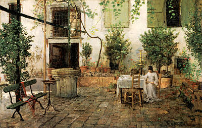 Courtyard In Venice Print by William Merrit Chase