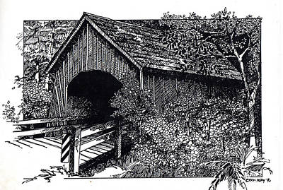 Covered Bridge Drawing - Covered Bridge by Donald Aday